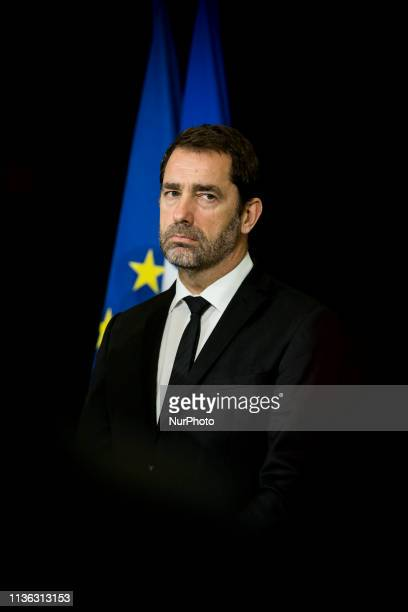 Christophe Castaner Ministre de l'Intérieur at the closure of an interministerial committee on delinquency and radicalisation prevention on April 11...