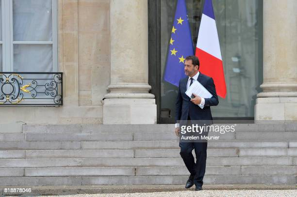 Christophe Castaner Secretary of State in charge of Relations with the Parliament Spokesperson of the Government leaves the Elysee Palace after the...