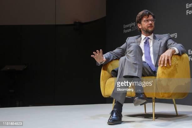 Christophe Charlier chairman of Renaissance Capital Holdings Ltd gestures while speaking during the Emerging Frontier Forum 2019 at Bloomberg's...