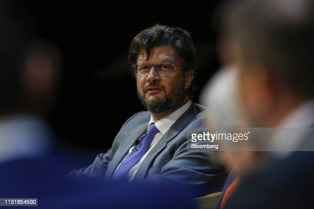 Christophe Charlier chairman of Renaissance Capital Holdings Ltd speaks during the Emerging Frontier Forum 2019 at Bloomberg's European headquarters...