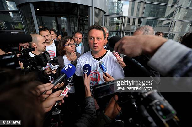 Christophe Chevalier CGT delegate of French manufacturer of aluminum foil containers Ecopla speaks to the media at the courthouse of Grenoble...