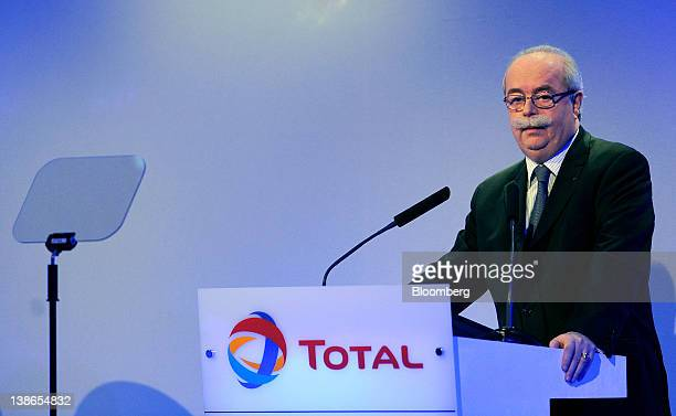 Christophe de Margerie, chief executive officer of Total SA, reads from an autocue during the company's fourth-quarter results news conference in...