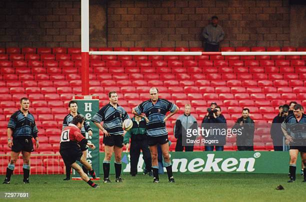 Christophe Deylaud of Toulouse kicks the winning penalty for his team during a Heineken European Cup match against Cardiff at Cardiff 7th January...