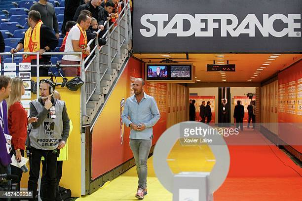 Christophe Dugarry attends during the French Ligue 1 between RC Lens and Paris SaintGermain FC at Stade de France on October 17 2014 in Paris France
