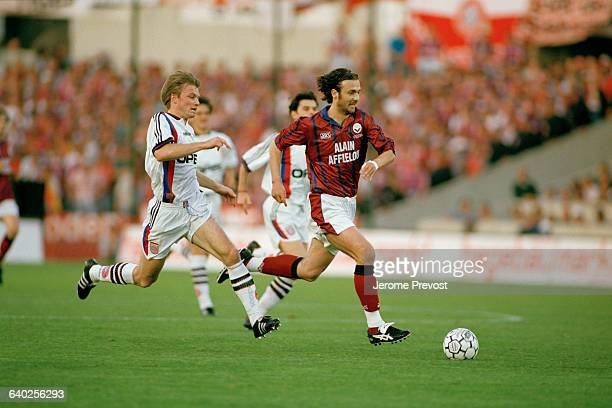 Christophe Dugarry during the second leg of the 19971998 UEFA Cup final