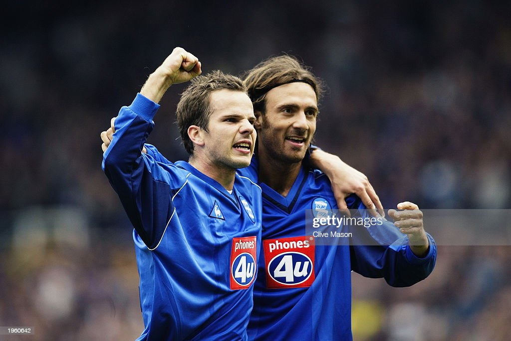 Christophe Dugarry of Birmingham City celebrates scoring the opening goal with team-mate Stephen Clemence during the FA Barclaycard Premiership match between Birmingham City and Middlesbrough held on April 26, 2003 at St Andrews, in Birmingham, England. Birmingham City won the match 3-0.