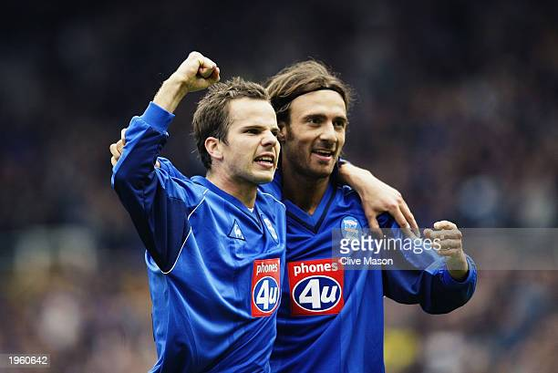 Christophe Dugarry of Birmingham City celebrates scoring the opening goal with teammate Stephen Clemence during the FA Barclaycard Premiership match...