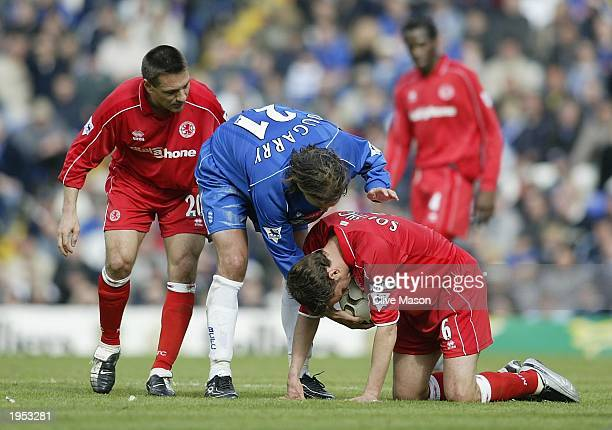Christophe Dugarry of Birmingham City hands the ball to a felled Gareth Southgate of Middlesbrough during the FA Barclaycard Premiership match...