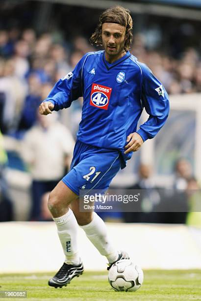 Christophe Dugarry of Birmingham City runs with the ball during the FA Barclaycard Premiership match between Birmingham City and Middlesbrough held...