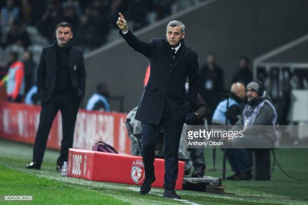 Christophe Galtier coach of Lille and Bruno Genesio coach of Lyon during the Ligue 1 match between Lille OSC and Olympique Lyonnais at Stade Pierre...