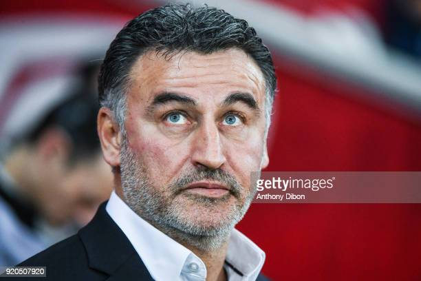 Christophe Galtier coach of Lille during the Ligue 1 match between Lille OSC and Olympique Lyonnais at Stade Pierre Mauroy on February 18 2018 in...