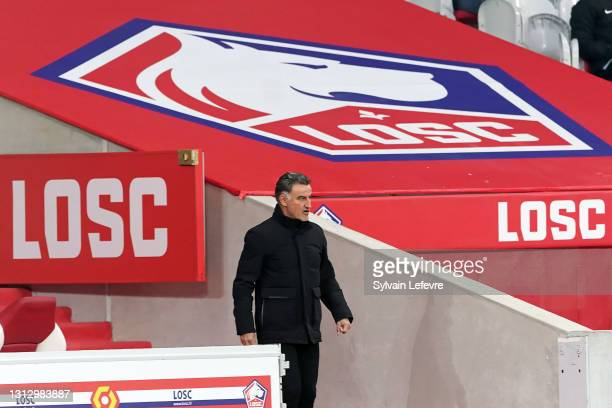 Christophe Galtier, coach of Lille OSC, in action during the Ligue 1 match between Lille OSC and Montpellier HSC at Stade Pierre Mauroy on April 16,...