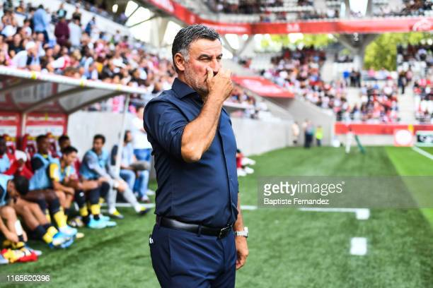 Christophe Galtier head coach of Lille during the French Ligue 1 football match between Stade de Reims and LOSC Lille on September 1, 2019 in Reims,...