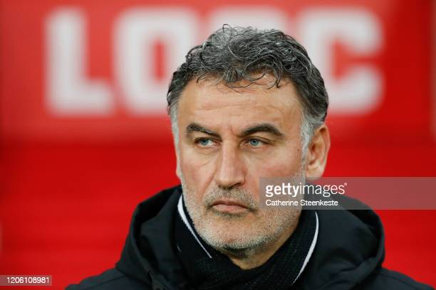 Christophe Galtier Head Coach of Lille OSC looks on during the Ligue 1 match between Lille OSC and Olympique Lyonnais at Grand Stade Lille MÈtropole...