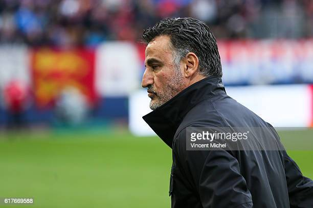 Christophe Galtier, head coach of Saint-Etienne during the Ligue 1 match between SM Caen and AS Saint-Etienne at Stade Michel D'Ornano on October 23,...
