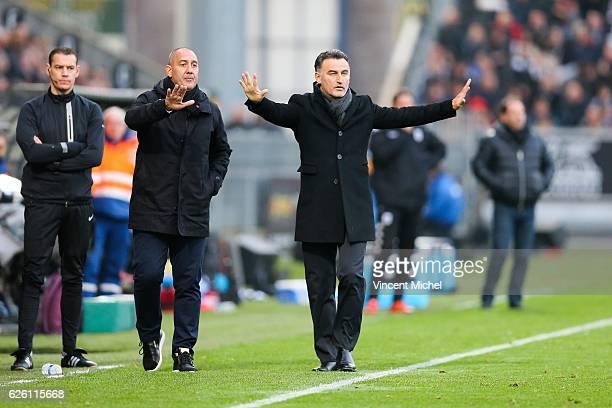 Christophe Galtier headcoach of SaintEtienne during the French Ligue 1 match between Angers and Saint Etienne on November 27 2016 in Angers France