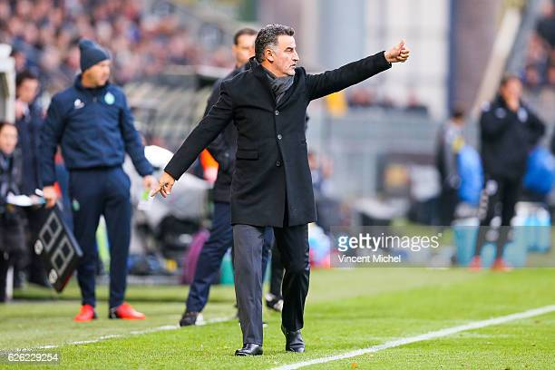 Christophe Galtier hedcoach of SaintEtienne during the French Ligue 1 match between Angers and Saint Etienne on November 27 2016 in Angers France
