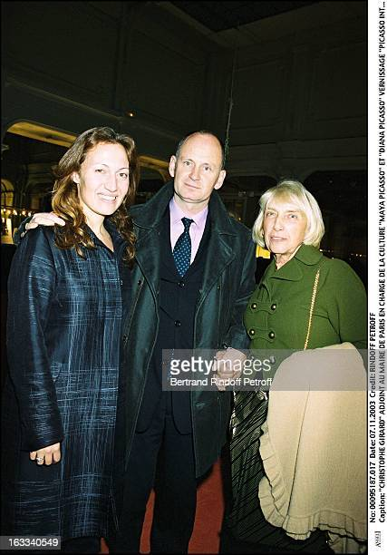 Christophe Girard Paris mayor deputy in charge of the culture 'Maya Picasso' and 'Diana Picasso' 'Picasso Intime' collection of Jacqueline exhibition...