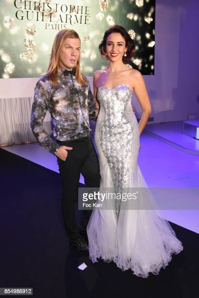 Christophe Guillarme and miss France 2012 Delphine WespiserÊ attend the Christophe Guillarme Show as part of the Paris Fashion Week Womenswear...