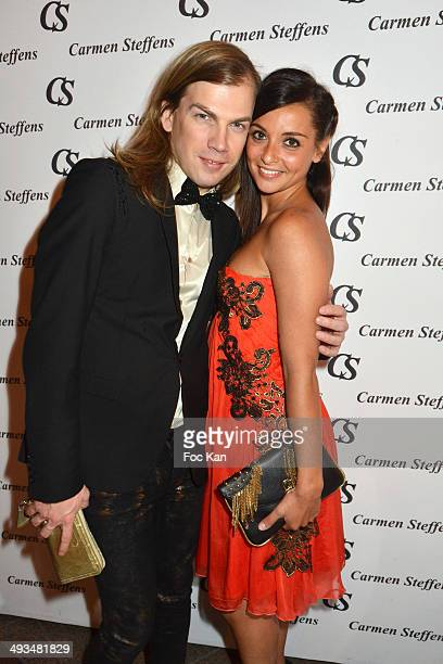 Christophe Guillarme and Priscilla Betti from 'Flash Dance' Musical Comedy attend the Carmen Steffens Luxury Leather Shop Cocktail Party during the...