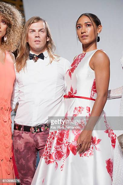 Christophe Guillarme poses with Josephine Jobert on the runway during the Christophe Guillarme show as part of the Paris Fashion Week Womenswear...