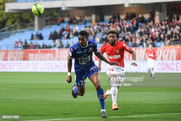 Christophe Herelle of Troyes and Moussa Sylla of Monaco during the Ligue 1 match between Troyes AC and AS Monaco at Stade de l'Aube on May 19 2018 in...