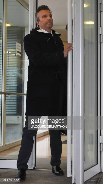 Christophe Ingrain the lawyer of CEO of French public service radio broadcaster Radio France leaves the headquarters of France's media regulator the...