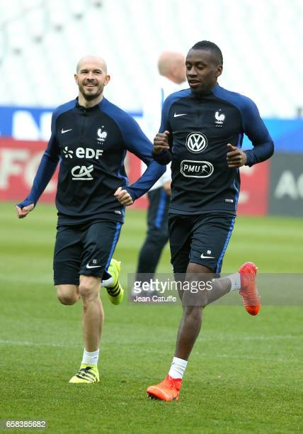 Christophe Jallet, Blaise Matuidi of France during the training session on the eve of the international friendly match between France and Spain at...