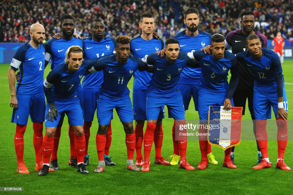 Christophe Jallet defender, Samuel Umtiti defender, Blaise Matuidi midfielder, Laurent Koscielny defender, Olivier Giroud forward, Steve Mandanda goalkeeper, Antoine Griezmann forward, Kingsley Coman forward, Layvin Kurzawa defender, Corentin Tolisso midfielder, Kylian Mbappe forward of France Football team during the friendly match between France and Wales at Stade de France on November 10, 2017 in Paris, France.