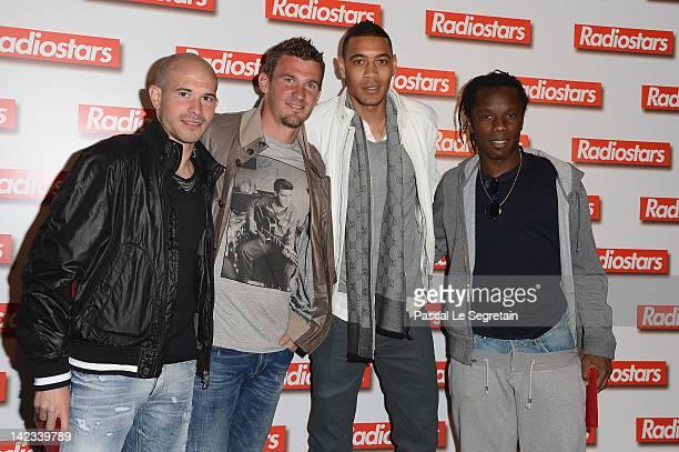 Christophe Jallet Nicolas Douchez Christophe Hoarau and Peguy Luyindula attend 'Radiostars' premiere at Cinema UGC Normandie on April 2 2012 in Paris...