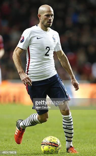 Christophe Jallet of France in action during the international friendly match between Denmark and France at Telia Parken Stadium on October 11 2015...