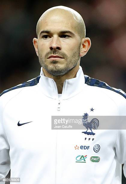 Christophe Jallet of France stands during anthems prior to the international friendly match between Denmark and France at Telia Parken Stadium on...