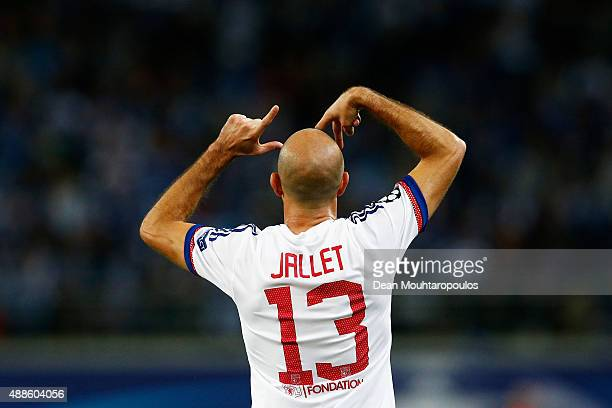 Christophe Jallet of Lyon celebrates scoring his teams first goal of the game during the UEFA Champions League Group H match between KAA Gent and...