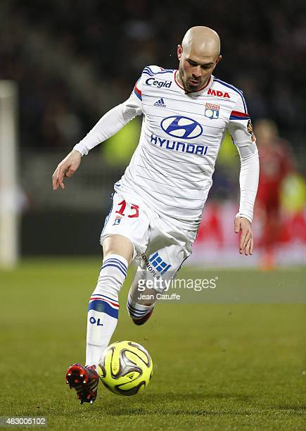 Christophe Jallet of Lyon in action during the French Ligue 1 match between Olympique Lyonnais and Paris SaintGermain FC at Stade de Gerland on...