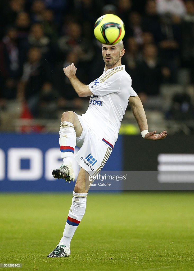 Christophe Jallet of Lyon in action during the French Ligue 1 match between Olympique Lyonnais (OL) and Troyes ESTAC at their brand new stadium, Parc Olympique Lyonnais on January 9, 2016 in Lyon, France.