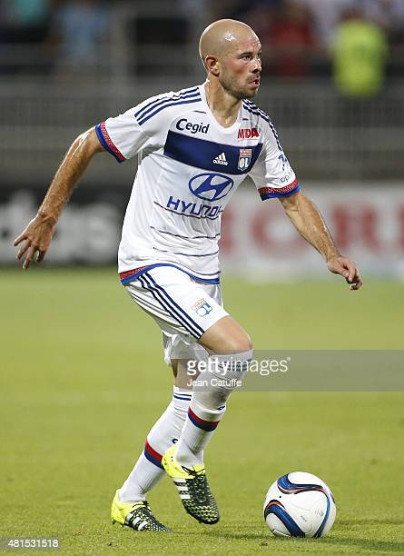 Christophe Jallet of Lyon in action during the friendly match between Olympique Lyonnais and AC Milan at Stade de Gerland on July 18 2015 in Lyon...