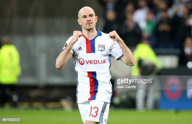 Christophe Jallet of Lyon thanks the supporters following the UEFA Europa League Round of 16 first leg match between Olympique Lyonnais and AS Roma...