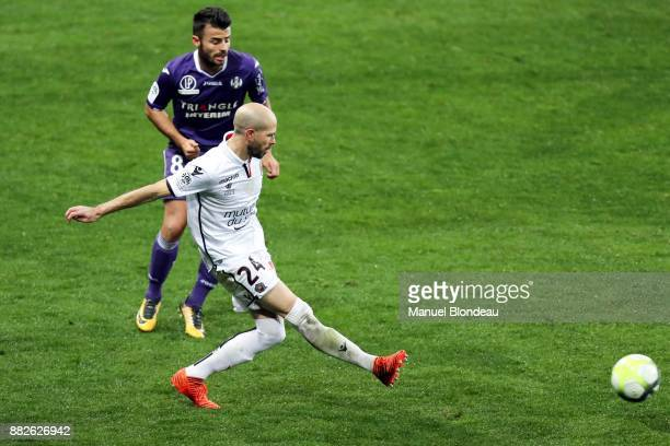 Christophe Jallet of Nice during the Ligue 1 match between Toulouse and OGC Nice at Stadium Municipal on November 29 2017 in Toulouse