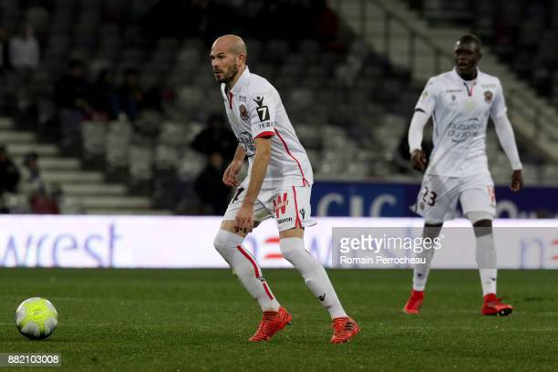 Christophe Jallet of Nice in action during the Ligue 1 match between Toulouse and OGC Nice at Stadium Municipal on November 29 2017 in Toulouse