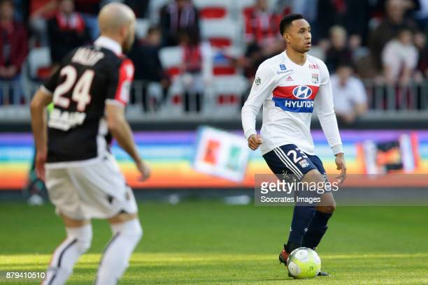 Christophe Jallet of Nice Kenny Tete of Olympique Lyon during the French League 1 match between Nice v Olympique Lyon at the Allianz Riviera on...