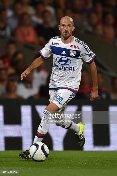Christophe Jallet of Olympique Lyonnais in action during the preseason friendly match between Olympique Lyonnais and AC MIlan at Gerland Stadium on...