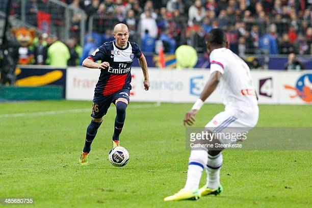 Christophe Jallet of PSG controls the ball during the French League Cup Final game between Olympique Lyonnais and Paris SaintGermain FC at Stade de...