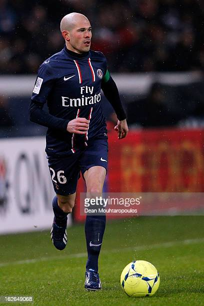 Christophe Jallet of PSG in action during the Ligue 1 match between Paris SaintGermain FC and Olympique de Marseille at Parc des Princes on February...