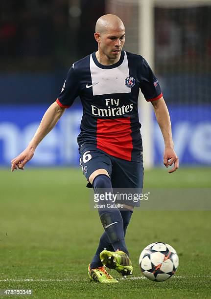 Christophe Jallet of PSG in action during the UEFA Champions League Round of 16 match between Paris SaintGermain FC and Bayer Leverkusen on March 12...
