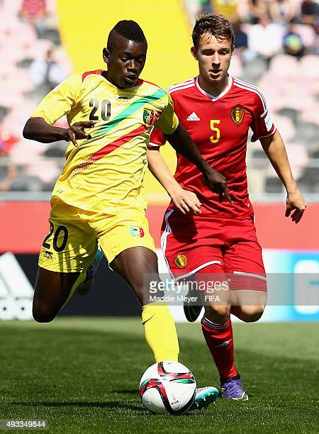 Christophe Janssens of Belgium defends Sekou Koita of Mali during the FIFA U17 Men's World Cup Chile 2015 group D match between Belgium and Mali at...