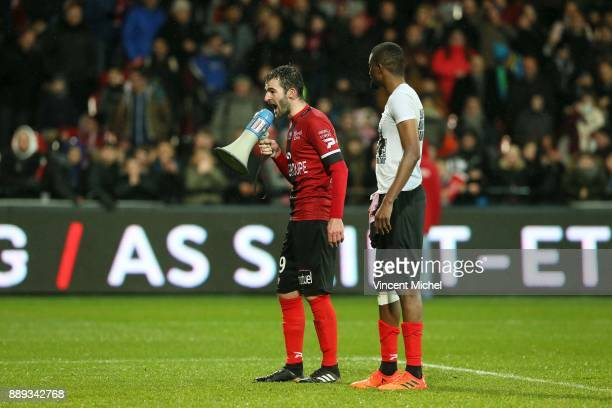 Christophe Kerbrat of Guingamp and Moustapha Diallo of Guingamp during the Ligue 1 match between EA Guingamp and Dijon FCO at Stade du Roudourou on...