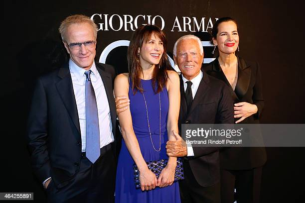 Christophe Lambert Sophie Marceau Giorgio Armani and Roberta Armani pose backstage after the Giorgio Armani Prive show as part of Paris Fashion Week...