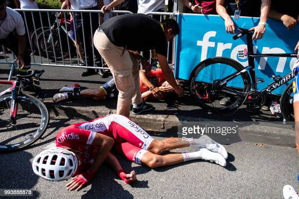 Christophe Laporte of France and Team Cofidis / Crash / Injury / during the 105th Tour de France 2018 Stage 2 a 1825km stage from...
