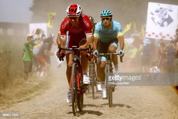 Christophe Laporte of France and Team Cofidis / Omar Fraile of Spain and Astana Pro Team /MonsEnPévèle Cobbles Sector 8 / Pave / during the 105th...