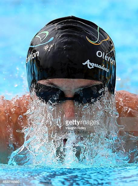 Christophe Ledu of France competes in the Men's 400m Individual Medley at Parc JeanDrapeau during the 15th FINA World Masters Championships on August...